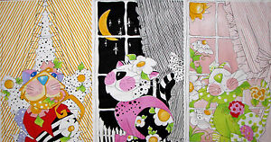 Loralie-Harris-Calico-Cats-in-Windows-Cotton-Fabric-Trimmed-Into-23-034-X44-034-Panel