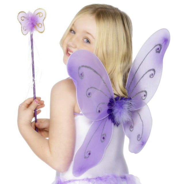 Purple Butterfly Fairy Wings and Wand
