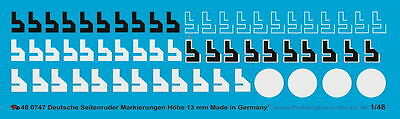 Peddinghaus 1/48 0747 Rudder Markings Of The German Luftwaffe 13 Mm Reliable Performance Models & Kits