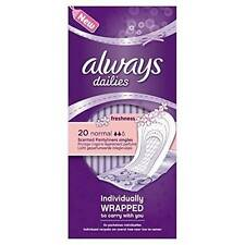 ** 2 X ALWAYS DAILIES  NORMAL 20 PANTYLINERS FRESHNESS INDIVIDUALLY WRAPPED
