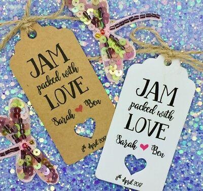 Discreto Jam Favore Matrimonio Regalo Tag, Personalizzato, Diffondere L'amore-