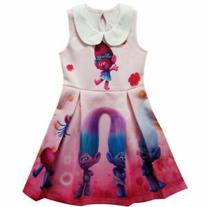 Kids Girls Princess Toddlers Fancy Dress Trolls Printing Cosplay Costume Gifts