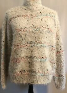 NWT-Cocobleu-Womens-Sweater-Sze-S-Ivory-Fair-Isle-Stitches-Soft-Cozy-Pullover