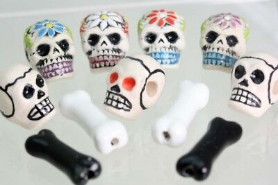 Skull Bone Shaped Glazed Beads Ceramic Bones Ceramic Skulls Day Of The Dead Ebay