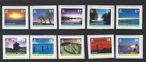 Guernesey-2001-Island-Scenes-Ensemble-de-10-SG-901-910-Adhesif-non-Montes