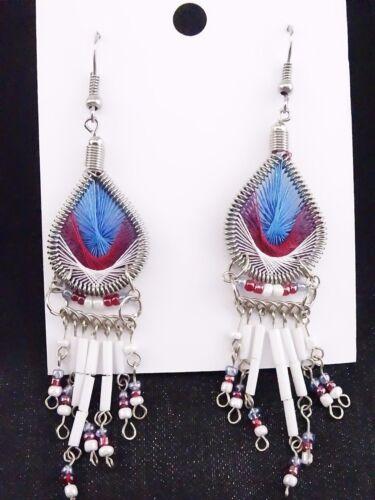 Damen Ohrringe Spirit Indianer Peru Schmuck Ohrhänger Dream Catcher Tropfenform
