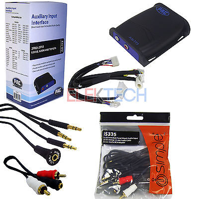 Car Audio Auxiliary Input Interface Adapter for 12-Pin Radio & Aux/RCA Cable Ext
