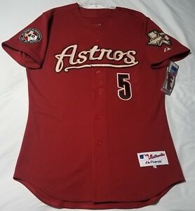 purchase cheap a47ca c92c9 Details about MAJESTIC AUTHENTIC, 46 LARGE, HOUSTON ASTROS, RED, JEFF  BAGWELL, ON FIELD Jersey