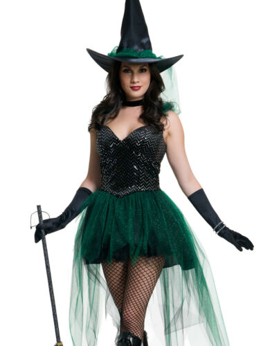 Details about  /Emerald Black Tutu Wicked Witch Magical Womens Halloween Costume
