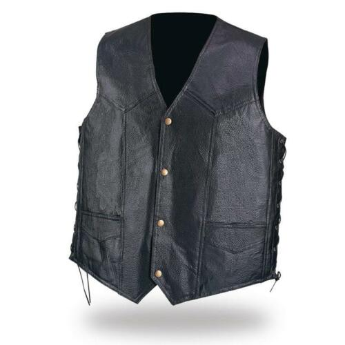 harley custom Motorcycle Leather vest jacket with lace Big Size M ~ 3XL  NEW