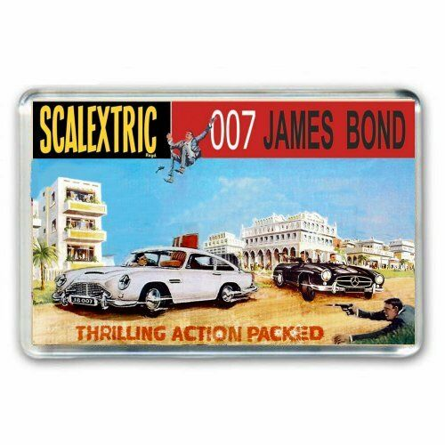 JAMES BOND 007 SCALEXTRIC ASTON MARTIN  BOX ARTWORK JUMBO FRIDGE//LOCKER MAGNET
