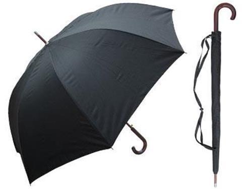 "DELUX Medium Wt Wooden Crook Handle Doorman Stick Umbrella BLACK w Case 60/"""
