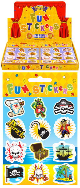 6 Pirate Fun Stickers - Sheet of 12 Stickers Toy loot/Party Bag Stocking Filler
