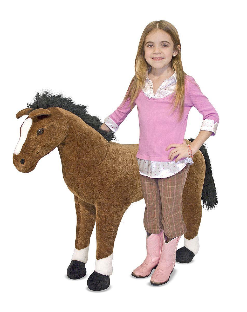 Lifelike Giant Brown Horse Plush Soft Toy Melissa & Doug Amazing NEW