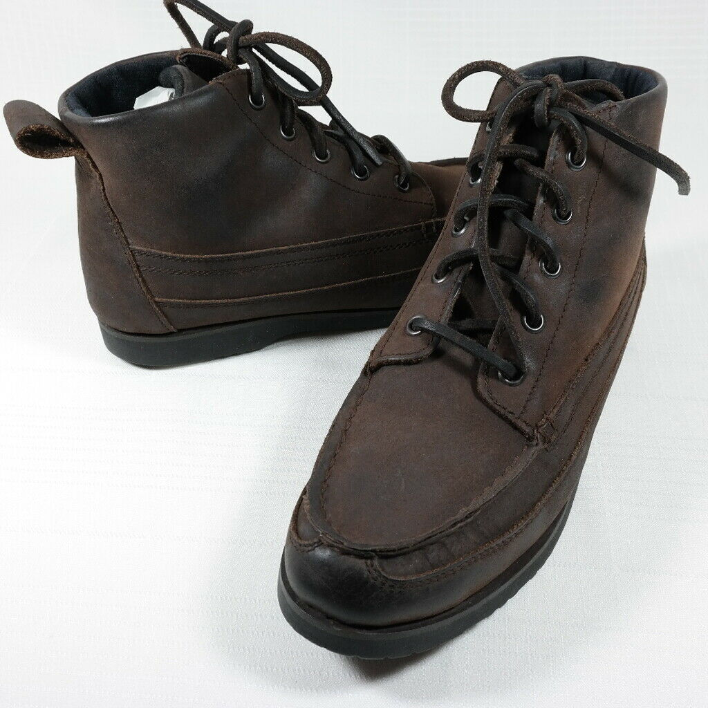 VTG HH Brown Womens 8.5 Brown Oiled Leather Ankle Lace Up Moc Toe Chukka Boots