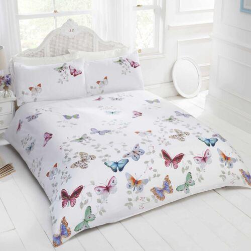 Mariposa papillon Housse De Couette Double Set Filles Blanc//Multi