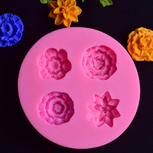 DIY 3D 4 Flower Silicone Mold Fondant Cake Decorating Chocolate Biscuit Mould