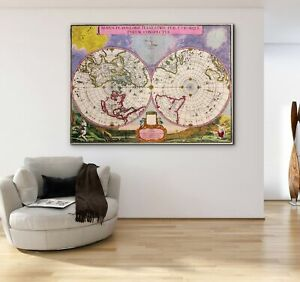 Old World Map Canvas.Antique Old World Map Canvas Print Painting Framed Wall Art Home