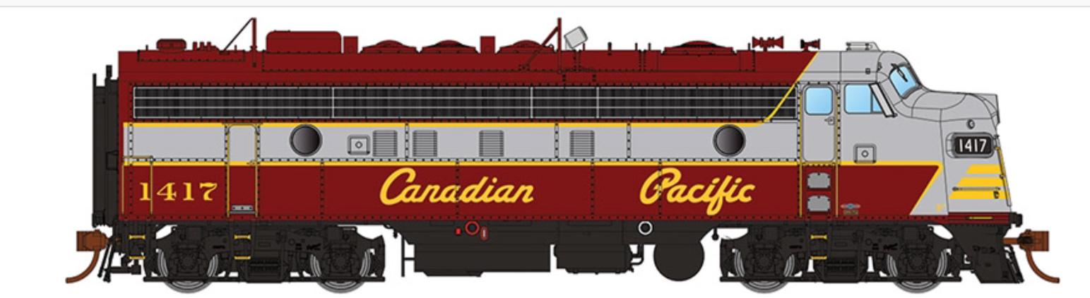 RAPIDO 1/87 HO CPR CANADIAN PACIFIC FP7 SCRIPT LETTERING RD #1417 DC / DCC SOUND