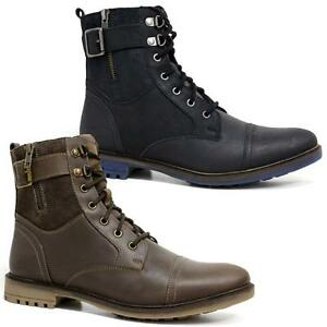 Mens-Leather-Boots-New-Smart-Formal-Army-Military-Combat-Ankle-Boots-Shoes-Size