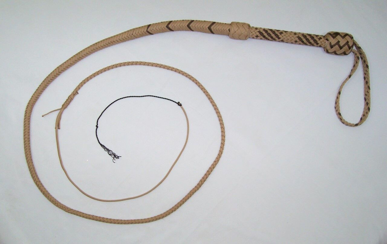 6 Foot 16 Plait Tan & Brown  NYLON Well-weighted  SHOT LOADED Real Bullwhip whip