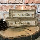 Mr And Mrs Personalised Wooden Block Tealight Holder Rustic Shabby Chic Wedding