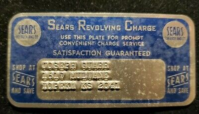 Sears Revolving Charge METAL CARD ♡Free Shipping♡cc12♡Princess size  eBay