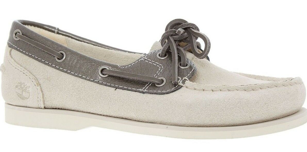 TIMBERLBND Leather Cream and Silver Womens Classic Boat Shoes - sizes UK 5 6