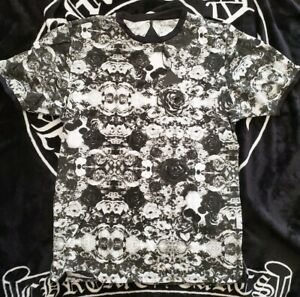 BLACK-SCALE-rose-skeleton-smoke-TEE-T-SHIRT-size-small-new-authentic-blvck