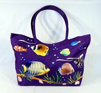 Waterproof Jumbo Purple Canvas Beach Bag Tropical Fish Design Zipper Closure 24 on sale