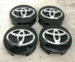 SET-OF-4-FITS-TOYOTA-WHEEL-CENTER-HUB-CAP-GLOSS-BLACK-CHROME-LOGO-62MM-2-1-2-034