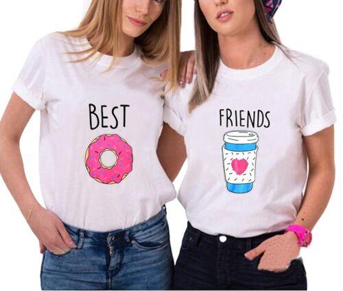 """Best Friends BFF FREUNDINNEN Besties Damen T-Shirt Shirts im Set /""""DONUT /&COFFEE/"""""""