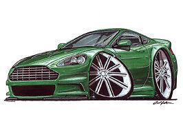 Aston Martin DB9 cartoon car t-shirt bond vantage vanquish rapide v12 dbs dbr9