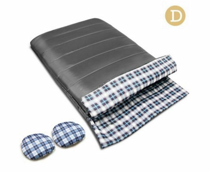 NEW CAMPING ENVELOPE SLEEPING  BAG DOUBLE GREY DURABLE WATER RESISTANT CAMP TRIP  outlet store