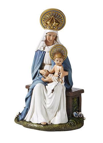 Seated Madonna And Child Hummel Style Catholic Statue  Virgin Mary