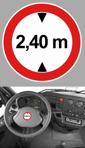 HAUTEUR LIMITE 2,40 m CAMION TRUCK IVECO MAN VAN CARAVANE 20cm STICKER HB002