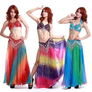 New-Belly-Dance-2-Pics-Costume-Bra-Belt-US34B-36B-38B-40B-US36D-38D-40D-11-345