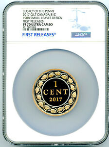 2017-1908-CANADA-2-OZ-SILVER-GILT-NGC-PF70-SMALL-LEAVES-LEGACY-OF-THE-PENNY-CENT