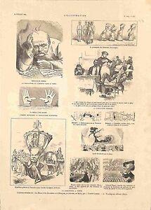 Caricature-Empereur-Autriche-Mozart-Wagner-Sarah-Bernhardt-Bismarck-GRAVURE-1885