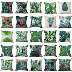 18-034-Tropical-Plant-Floral-Leaves-Pillow-Case-Cotton-Cushion-Cover-Car-Home-Decor