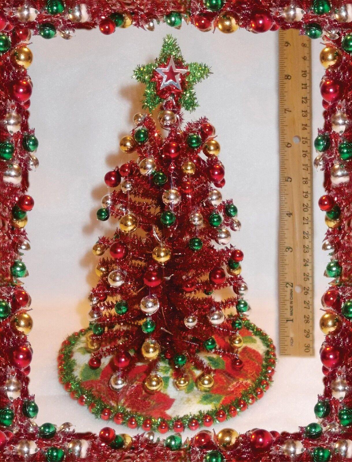 Nuevo 8  Iluminado Rojo oropel Casa De Muñecas Miniaturas de árbol de Navidad de mediados de siglo moderna
