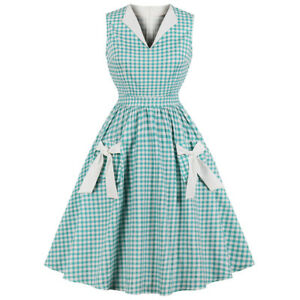 Womens-Check-Plaid-Tea-Party-Rockabilly-Evening-Vintage-Midi-Swing-Skater-Dress