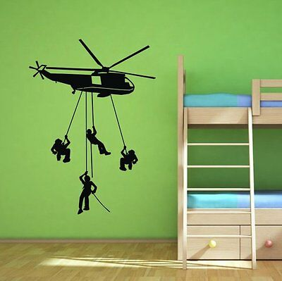 """31.5"""" x 22.4"""" Army Troops Helicopter Soldier Wall Decal Bedroom Vinyl Decor Kids"""