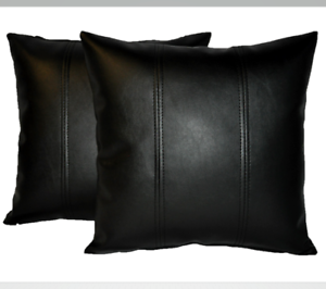 """2 Black Stripe Faux Leather Cushions 16/"""" 18/"""" 20/"""" /& Inner Filler Pad"""