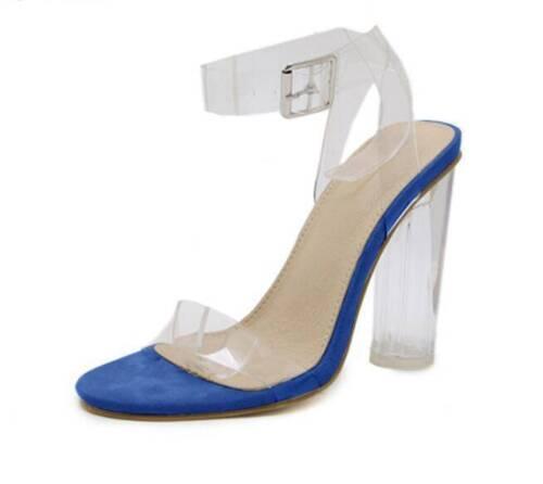 Womens High Heels Perspex Hologram Sandals Ladies Clear Block Heel Shoes Fashion