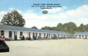 VALLEY-VIEW-MOTOR-COURT-Scottsville-KY-Roadside-ca-1940s-Vintage-Linen-Postcard