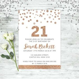 Image Is Loading 21ST BIRTHDAY INVITATIONS ROSE GOLD PARTY PERSONALISED