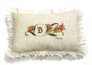 Vintage-1970s-Needlepoint-Throw-Pillow-Signed-J-Bishop-Flax-Lace-Trim-Floral