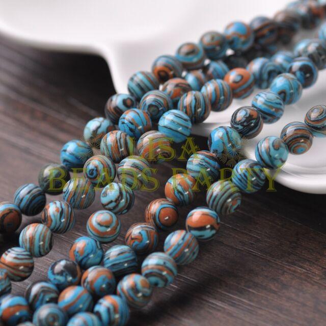 30pcs 8mm Round Stone Loose Gemstone Beads Blue Synthetic Malachite