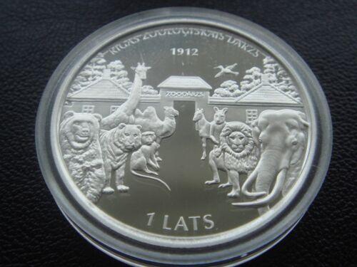 Latvia 2012 silver coin 1 lats RIGA ZOO Bear elephant camel giraffe climber